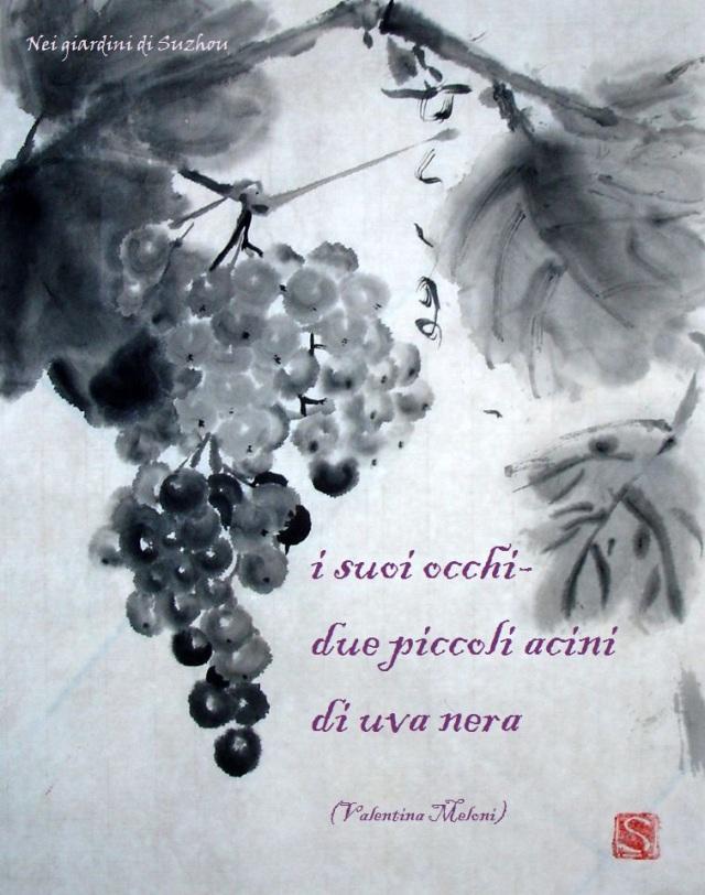 Grappolo di uva-  immagine: dipinto sumi-e di Santo Previtera