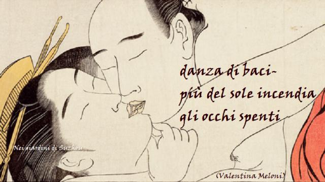 Shunga, due amanti si baciano