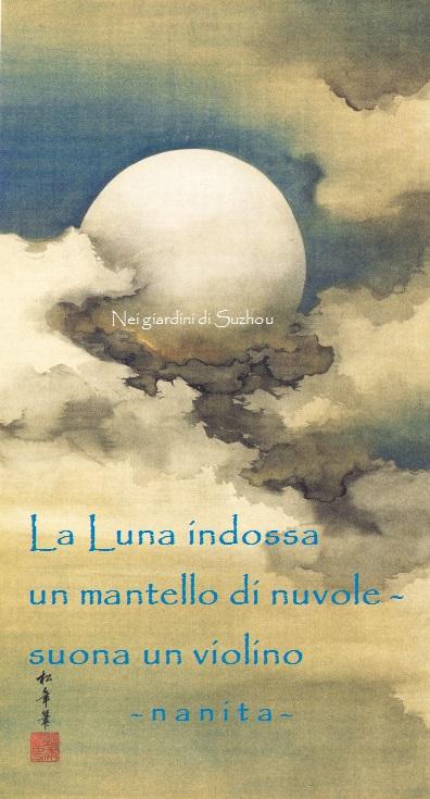 Suzuki Shōnen (1849-1918), Luna fra le nubi, rotolo verticale, inchiostro, oro e colori su seta.